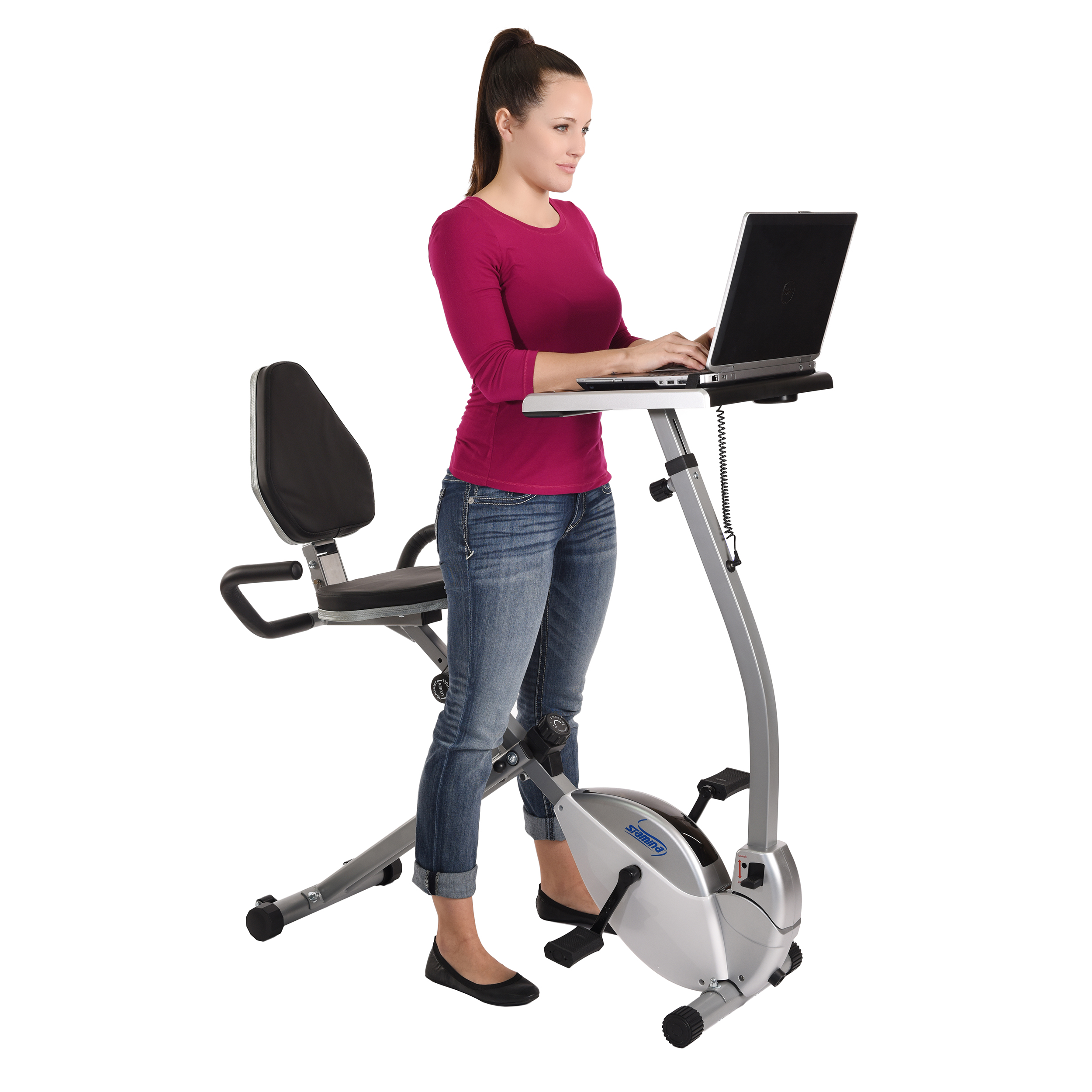 and in bike product standing bicycle exercise products desk recumbent workstation stamina