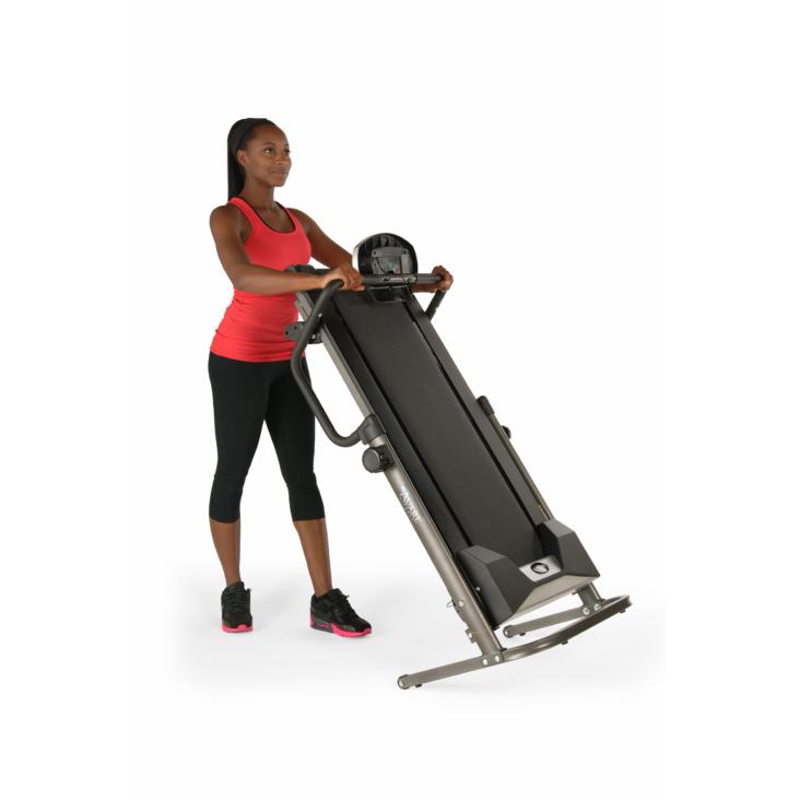 Woman on Avari Adjustable Height Treadmill