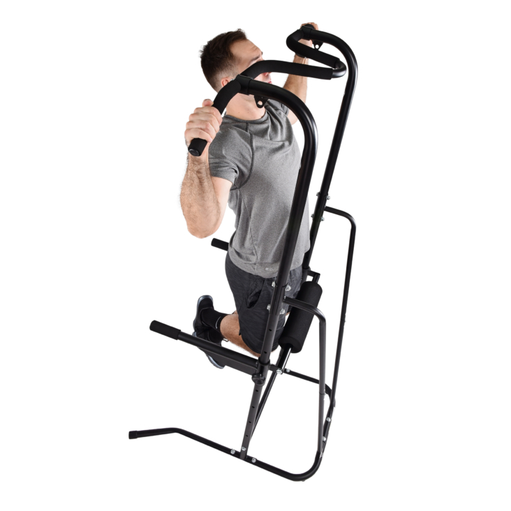 Man using the stamina power tower (pull up machine) on a white background.