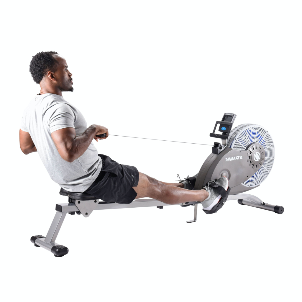 Black man rowing workout